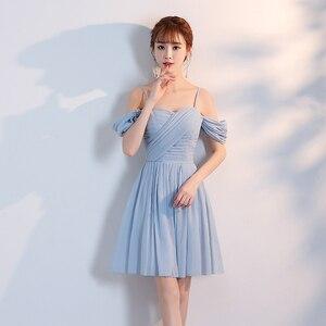 Image 4 - Женское коктейльное платье выше колена, ТРАПЕЦИЕВИДНОЕ голубое, Розовое Шифоновое простое платье без бретелек, вечерние платья для лета, Новое поступление
