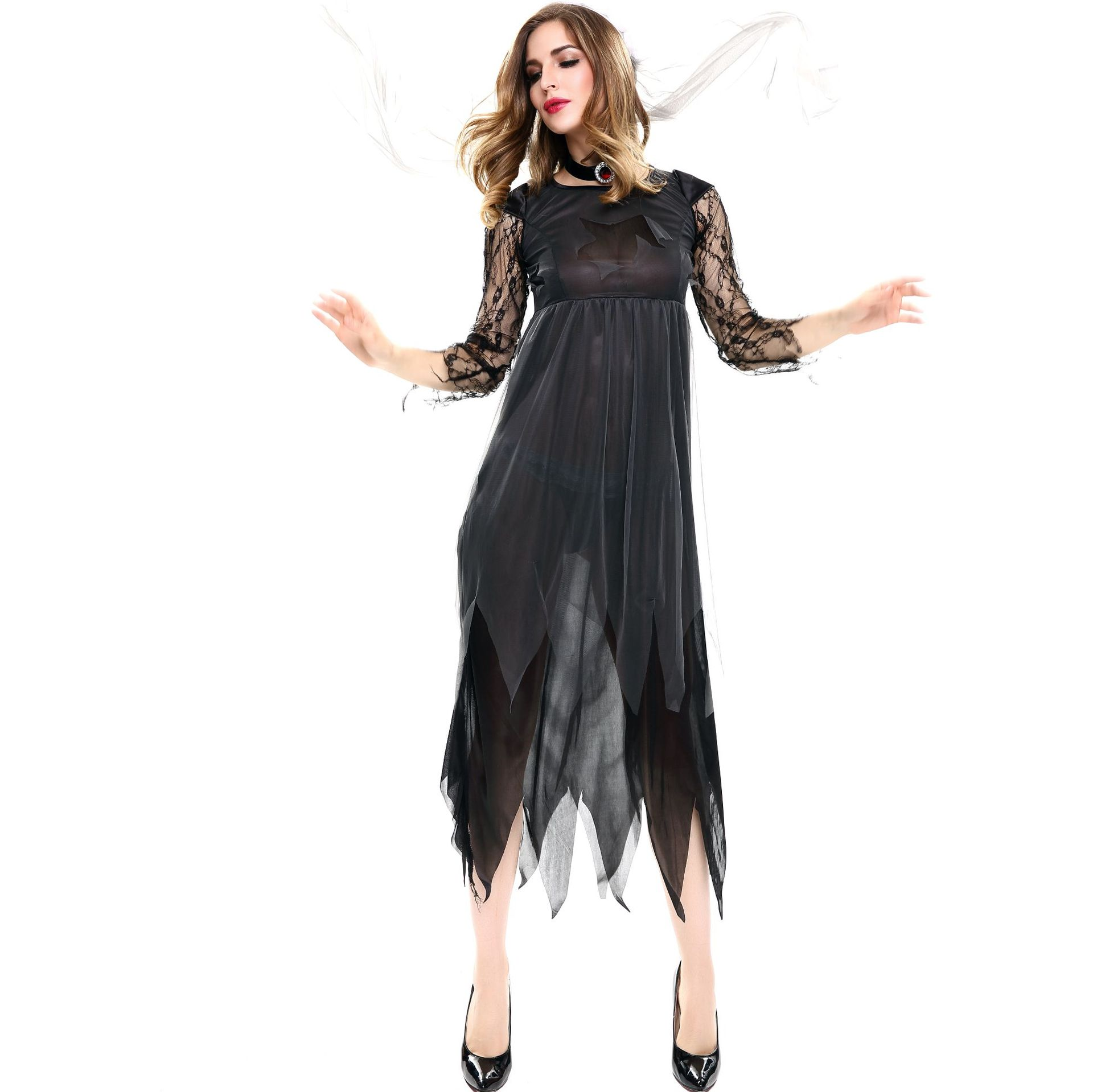 Zombie Corpse Grey Blood Skirt Costume Womens Ladies Halloween Ghost Fancy Dress