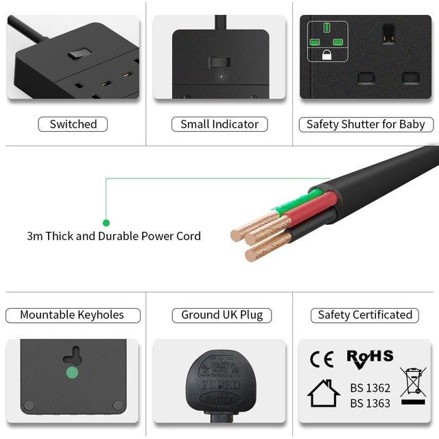 NTONPOWER 3m rallonge avec Protection contre les surtensions Extension multi-prise avec 5 fentes USB commutées 13amp royaume-uni multiprise pour la maison