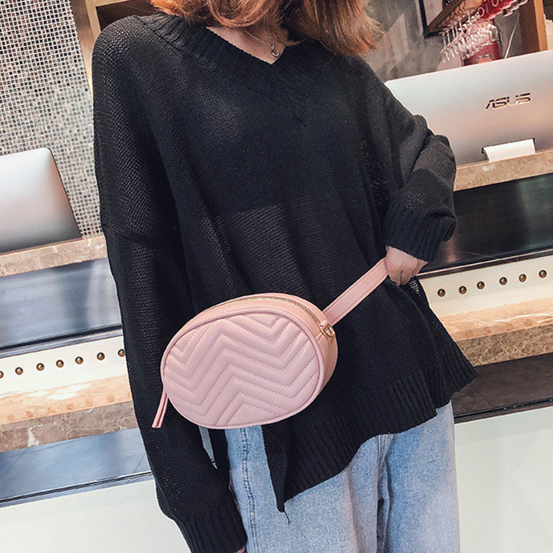 PU Leather Women Waist Pack 2019 Fashion Fanny Pack Girl Mini  Chain Chest Belt Bag Luxury Brand Belly Bag Small Round Bum Pouch