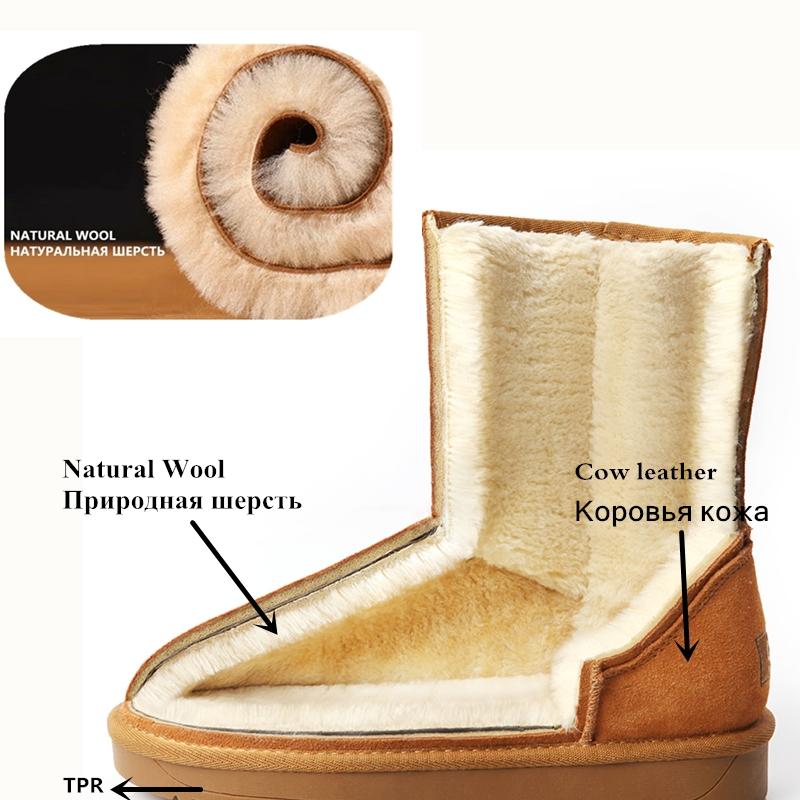 Winter Echt Leer Snowboots Midden Natuurlijke Wol Laarzen Schapen Bont Koe Suede Lederen Korte Laarzen Warme vrouwen Schoenen - 3