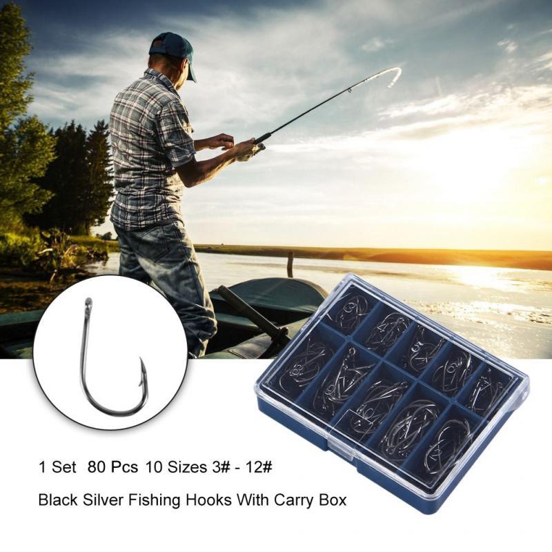 80PCS 10 Sizes Fishing Hooks Durable Silver With Hole Fishhooks Fishing Tackle Box 10 Compartments  Sharpened Hooks Fish Tackle