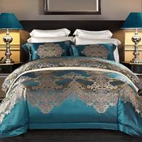 Dyed High Counts High End Premium Mulberry Silk Jacquard Palace Bedding Set JPcs King size Duvet cover Bed Sheets set Pillowcase