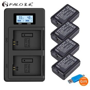 PALO 2pcs 2000mAh NP-FW50 NP FW50 Camera Battery + LCD USB Dual Charger for Sony Alpha a6500 a6300 a6000 a5000 a3000 NEX-3 a7R lanfulang np fw50 np fw50 camera battery 1 pack and charger kit for sony ilce 7 ilce 5000 nex 3c nex 6y a7s ilce 7rm2 nex 5n
