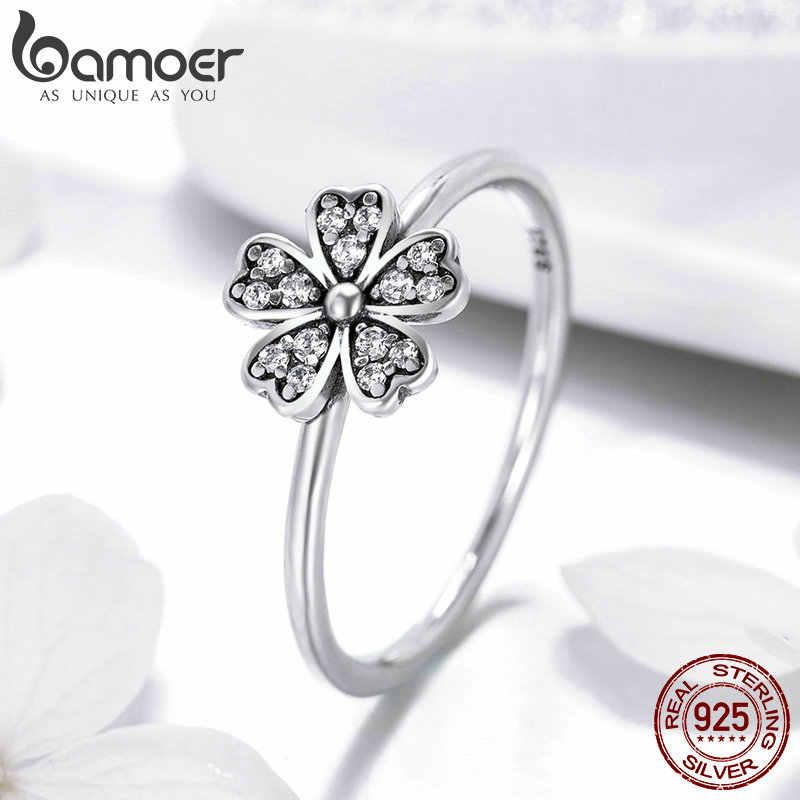 BAMOER שני צבעים אופנה אלגנטי מקורי 925 כסף מסנוור דייזי פרח טבעת ברור CZ חתונה תכשיטי SCR398