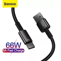 Baseus USB Type C Cable 6A 66W USB C Cable for Huawei P40 pro Mate 40 Fast Charge Type C Cable Wire Code Date Cable USB C Cable