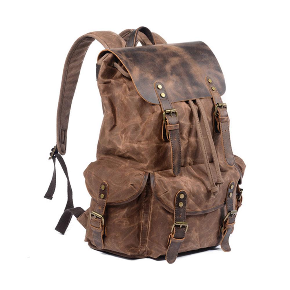 Genuine Leather Backpack for Outdoor Real Leather Waterproof Oil Wax Vancas Bag Vintage Style 2019