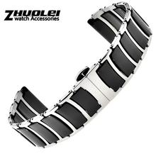 Bracelet en acier inoxydable avec céramique, pour Samsung Gear S3, pour Galaxy Watch 46mm/42mm/Active 2 1 40mm 44mm, haute qualité