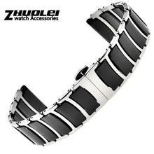 high quality Stainless Steel with Ceramic Bracelet for Samsung Gear S3 Band for Galaxy Watch 46mm/42mm/Active 2 1 40mm 44mm