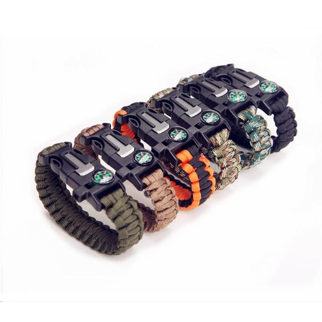 Multi function Military Emergency Survival Paracord 4mm Bracelet Outdoor Scraper Whistle Buckle Paracord Tools 550 Paracord