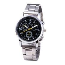 Men's Fashion Business Stainless Steel Alloy Three Eyes Hook Watch мужские часы