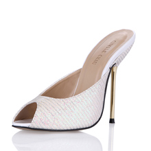 Summer New 11cm High Heeled Sandals Glitter Bridals Women Slide Stiletto Thin heel Peep Toe Sexy Party Lady Shoe 5-FA12