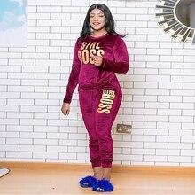 Sweatshirt Tracksuit Pants Crop-Top Two-Piece-Sets Plus-Size Fitness Outfit Jogger Letter
