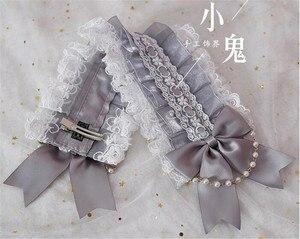 Image 4 - Giapponese Dolce Lolita Retro KC Fascia Femminile Lace Trim Bowknot Copricapi Cosplay Accessori Della Forcella B445
