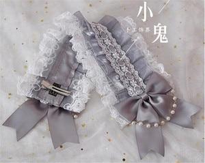 Image 4 - Japanese Sweet Lolita Retro KC Headband Female Lace Trim Bowknot Headwear Cosplay Hairpin Accessories  B445