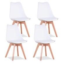 Juego de 4 sillas de comedor de estilo Retro, asientos acolchados de plástico y madera maciza inspirados, para cocina y comedor