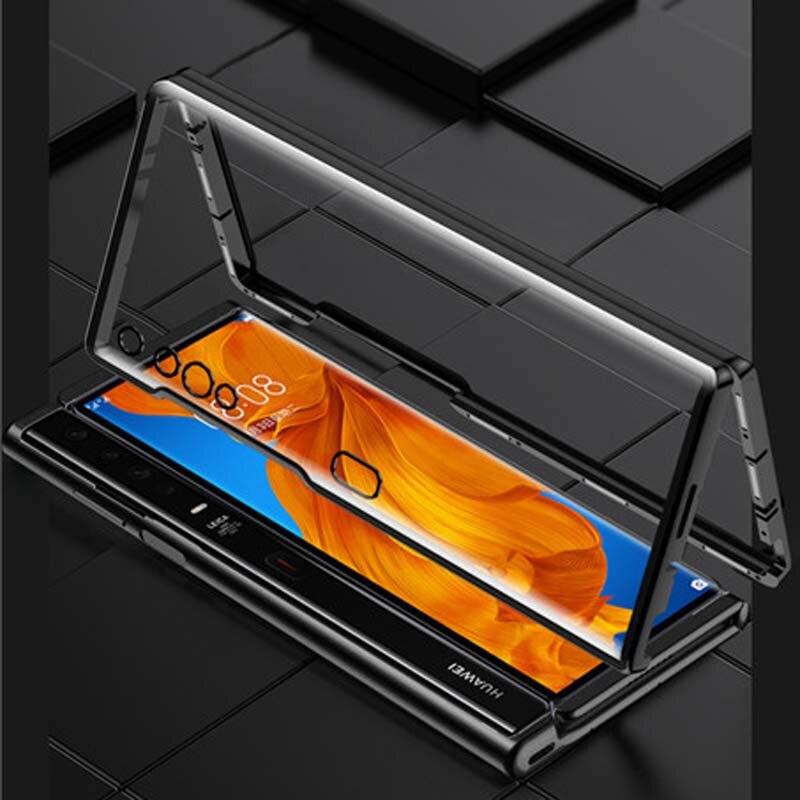 Funda magnética de Metal 360 para móvil, funda de vidrio templado de doble cara para Huawei Mate XS, funda magnética para Huawei Mate XS