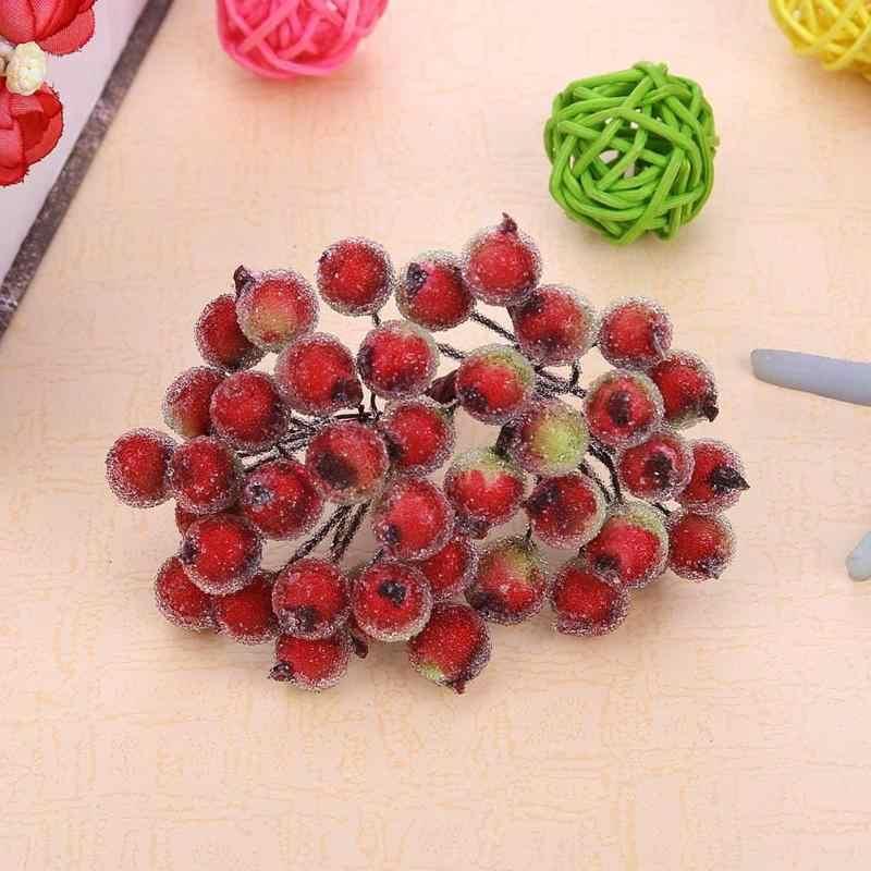 40 Kepala Palsu Buah Berry Buatan Merah Holly Berry Natal DIY Taman Rumah Dekorasi Natal Pemasok Cherry Plastik