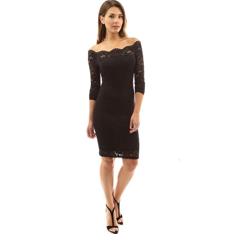 BacklakeGirls 2019 Autumn Sexy Off The Shoulder Long Sleeve Solid Color Lace Short/Mini Cocktail Dress abend kleider