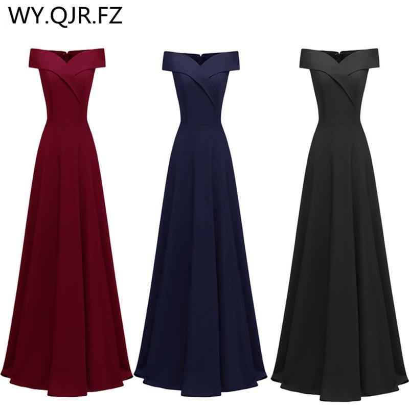 CD1693#Bridesmaid Dresses Long Burgundy Black Dark Blue Boat Neck Wedding Party Dress Wholesale Women's New Winter 2019 Girls