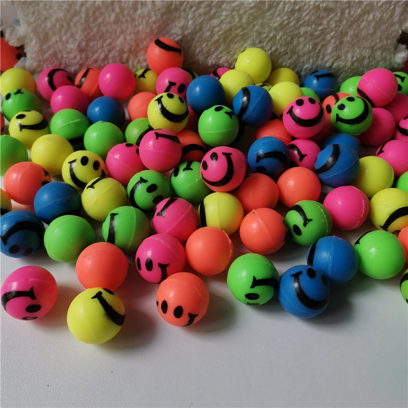 20pcs/lot Hot Sales Toy Ball Smiley Face Bouncy Ball Child Elastic Rubber Ball Children Kids Of Pinball Bouncy Toys Boys Girls