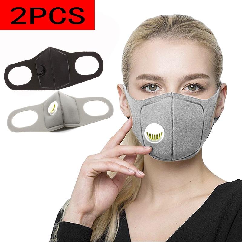 2Pcs/Lot Sponge Masks, With Breathing Valve Dust Mask, Respirator Masks, Men's&Women's Universal,-Style Anti-Pollen Allergy Mask
