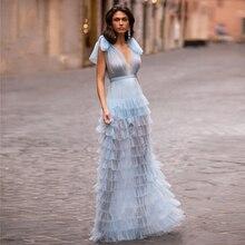 Женское длинное вечернее платье с эффектом иллюзии, 2020