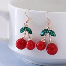Brincos de cereja vermelho quente eardrop doce fruta fresca cereja eardrop feminino moda juventude bela menina estudantes brincos para mulher