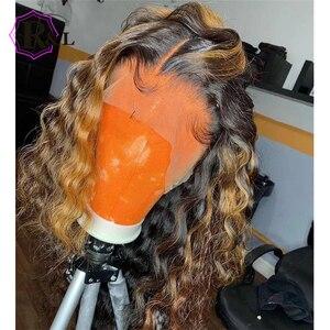 Image 1 - RULINDA Ombre צבע תחרה מול שיער טבעי פאה מתולתל ברזילאי שאינו רמי Hair13 * 4 פאת תחרה עם תינוק שיער התיכון יחס 130% צפיפות