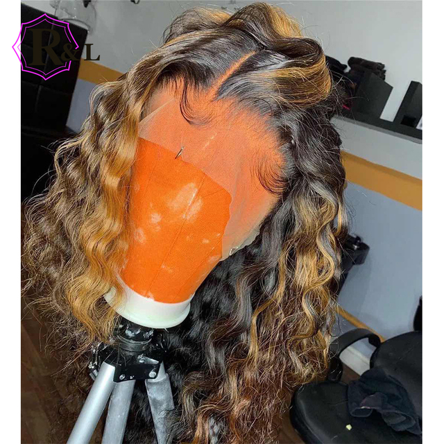 RULINDA Ombre צבע תחרה מול שיער טבעי פאה מתולתל ברזילאי שאינו רמי Hair13 * 4 פאת תחרה עם תינוק שיער התיכון יחס 130% צפיפות