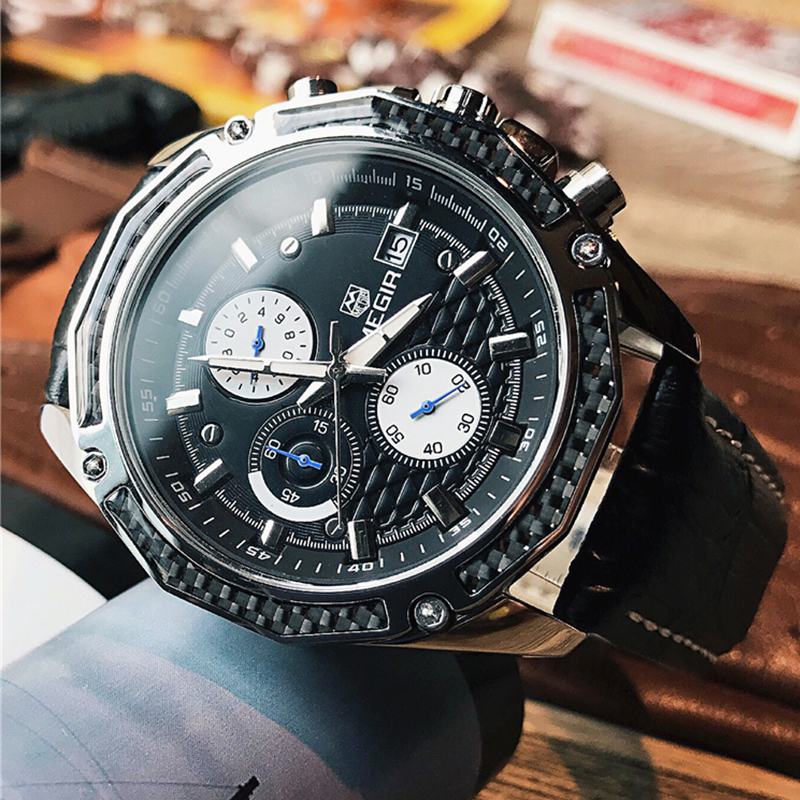 <font><b>MEGIR</b></font> 2019 Men Watch Male Leather Automatic date Quartz Watches Mens Luxury Brand Waterproof Sport Clock Relogio Masculin image