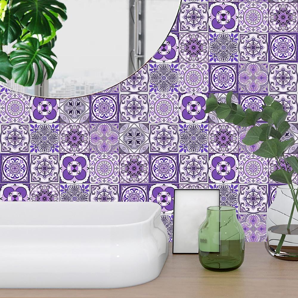 10/15/20/30cm Purple Retro Strip Tiles Wall Sticker Kitchen Stairs Tile Decoration Wallpaper Peel & Stick Waterproof Art Mural