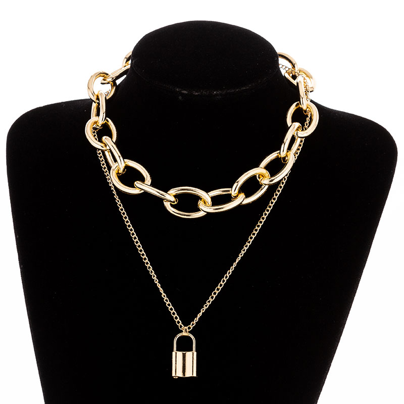 H7b14cbdc5f6948af86fb5111474455747 - KMVEXO Multilayer Lock Chain Necklace Punk Padlock Key Pendant Necklace Women Girl Fashion Gothic Party Jewelry