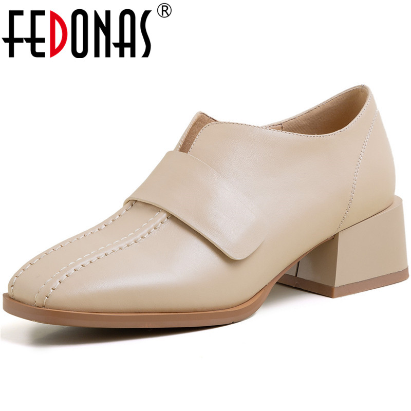 FEDONAS Cow Gunuine Leather Women Basic Square Toe Pumps Spring Summer Shllow Shoes Square Heels Elegant 2020 New Shoes Woman
