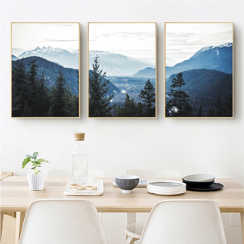 Mountain Art Print Scandinavian Art Navy Blue Landscape Art Gicl\u00e9e Print