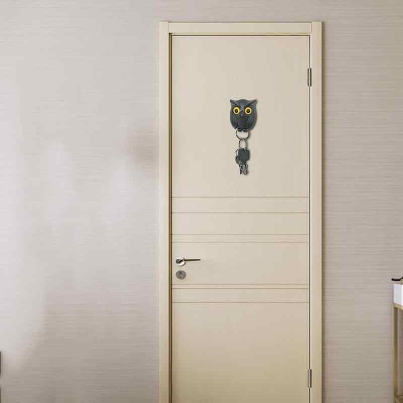 1 個フクロウ夜の壁磁気キーホルダー磁石保持キーホルダーキーハンガーフックぶら下げはオープン目