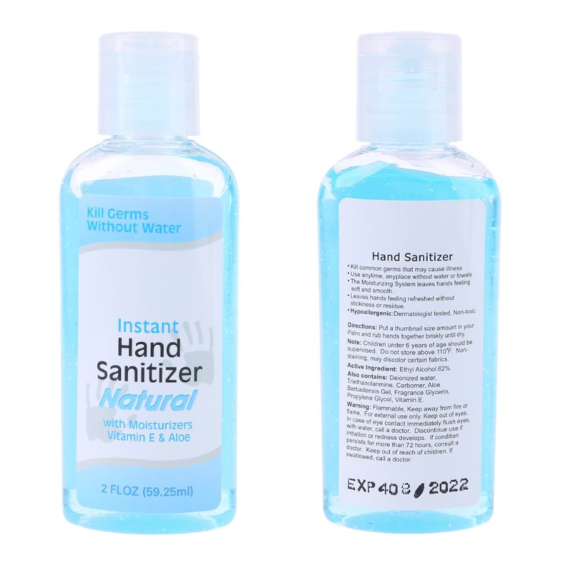 60ml Travel Portable Mini Hand Sanitizer Anti-Bacteria Moisturizing Fruit-Scented Disposable No Clean Waterless Clear Bottle Sha