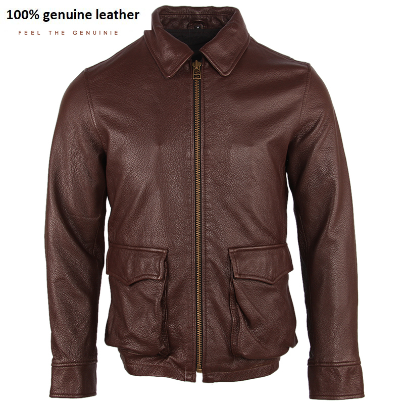 2020 Men Leather Jacket Soft Thin 100% Cowhide Men's Skin Coat Flight Jackets Male Genuine Leather Clothing Spring Autumn M255