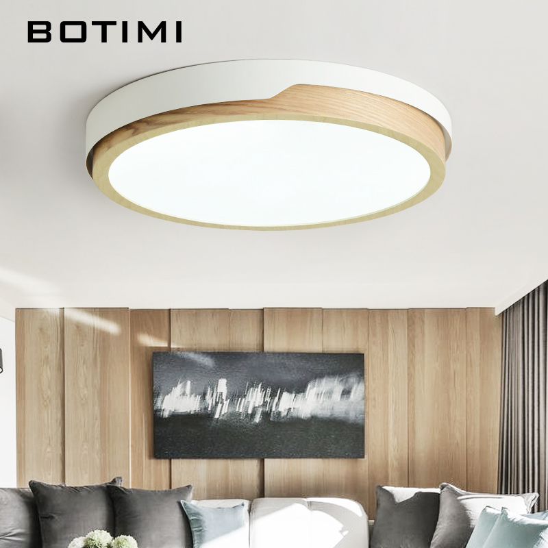 Image 4 - BOTIMI 220V LED White Round Ceiling Lights Nordic Style Surface Mounted Bedroom Lamp Living Room Wooden Kitchen Lighting Fixture-in Ceiling Lights from Lights & Lighting