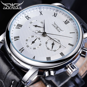 Jaragar Elegant White Men Mechanical Watch Automatic 3 Dial Calendar Business Dress Genuine Leather Band Wristwatch Reloj Hombre full automatic mechanical man wristwatch waterproof steel band fashion calendar watch attached leather strap