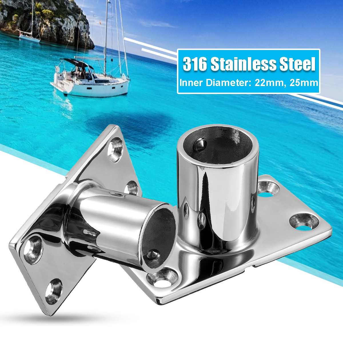 316 Stainless Steel Boat Tube Pipe Base Marine Boat 90° Railing Handrail Fitting Rails Pipe Base Reusable Marine Hardware