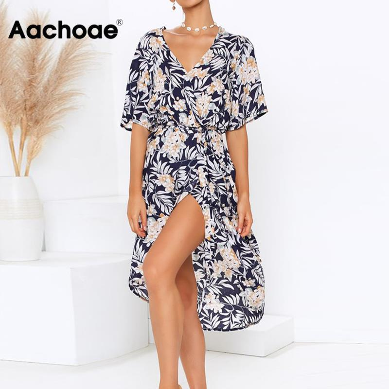 Women Wrap Long Dress 2020 Summer Boho Floral Print Beach Dress Sexy V-neck Split Party Dress Elegant Sundress Robe Femme