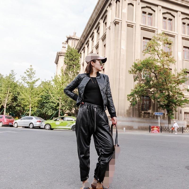 Fashionable Short Sleeve Baseball Uniform Women's Thick Sheepskin Down Jacket Long Sleeve Pocket Fine Leather Loose Real Coat
