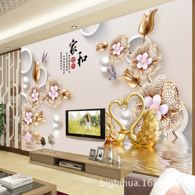 European Style Jewelry 3D Living Room Television Background Wall Wallpaper Non-woven Wallpaper TV Wall Mural Bedroom Seamless Wa