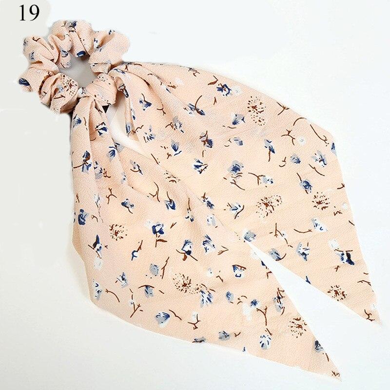 Богемные резинки для волос в горошек с цветочным принтом и бантом, женские эластичные резинки для волос, повязка-шарф, резинки для волос, аксессуары для волос для девочек - Цвет: New 19