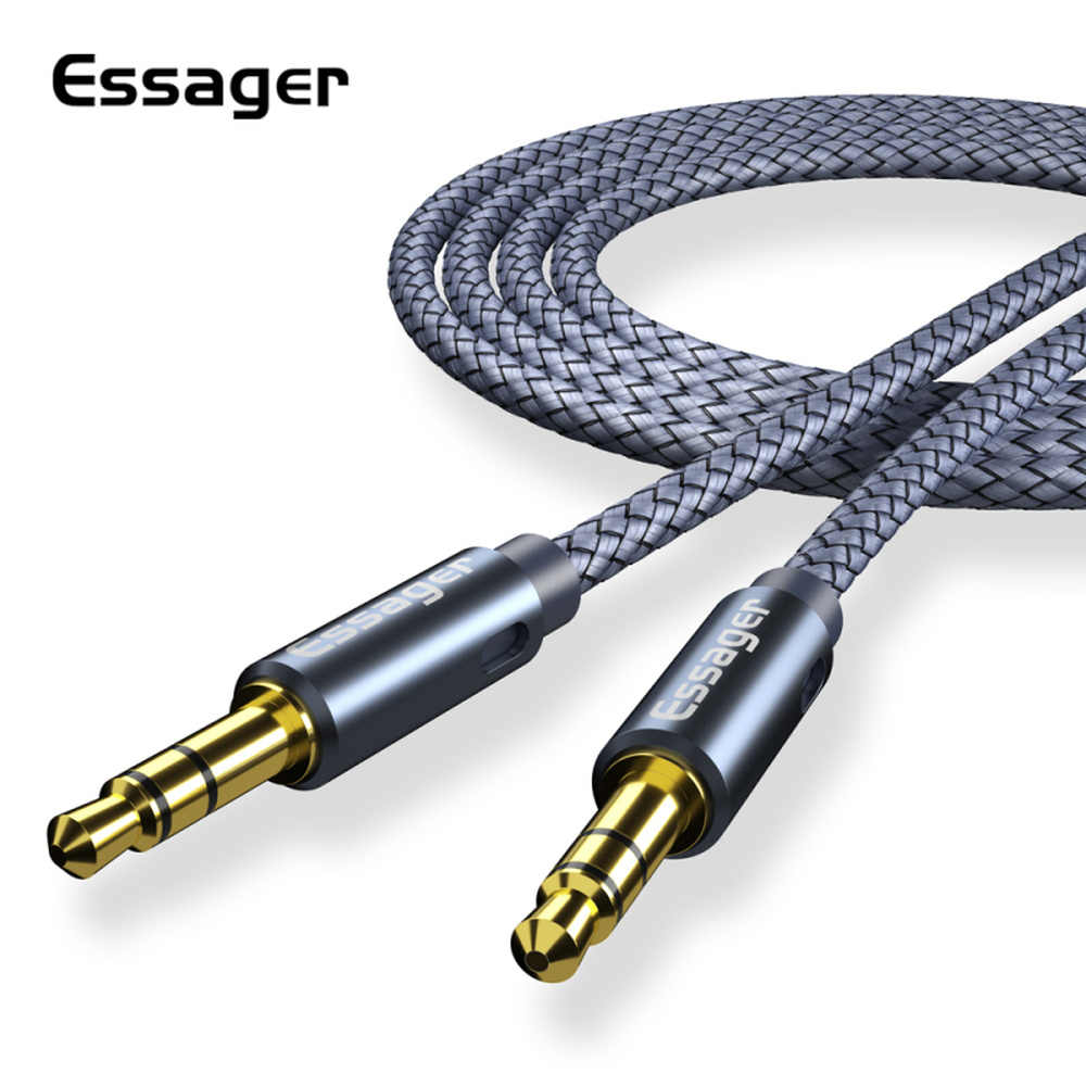 Essager 3.5mm Jack Aux Cable Audio Speaker Wire Car Headphone MP3 Male to Male Adapter 3.5 mm Cord For iPhone XR 7 Xiaomi Redmi