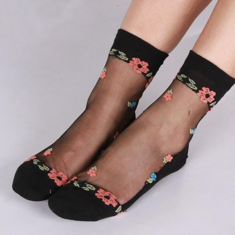 Fashion Women Summer Lace   Socks   Crystal Glass Silk Elastic   Sock   Thin Ultrathin Transparent Flower Short Ankle   Socks   Streetwear