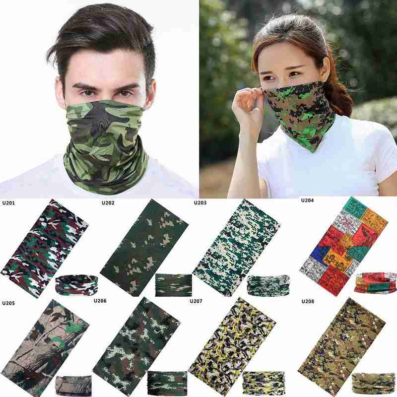 Camouflage Hiking Scarves Men Polyester Breathable Collar Windproof Anti UV Neck Cover Face Mask Fishing Hunting Cycling Bandana