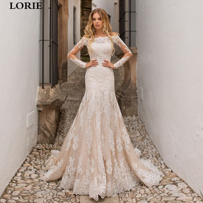 LORIE Champagne Mermaid Wedding Dress Long Sleeve Lace Appliques Detachable Train Wedding Bride Dress Off-Shoulder Wedding Gowns