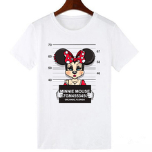 LUCKYROLL New Plus Size Tops Tees Cartoon Mouse Print Short